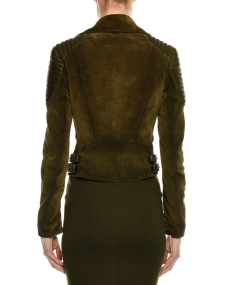 Zip-Front Suede Moto Jacket with Trapunto Details
