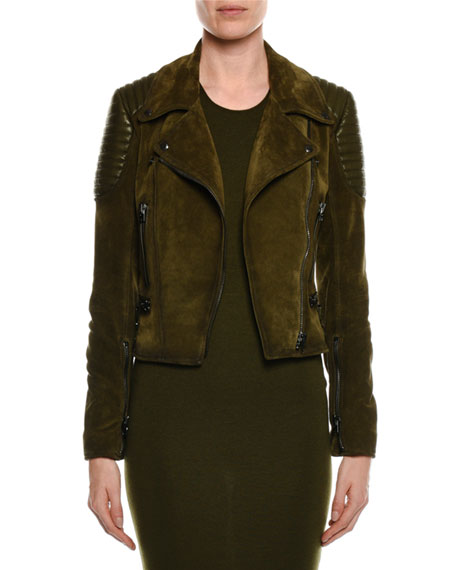 TOM FORD Zip-Front Suede Moto Jacket with Trapunto