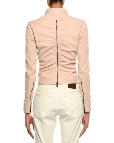 Zip-Front Ruched Napa Leather Biker Jacket