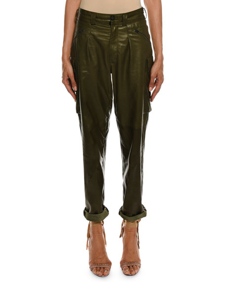 TOM FORD Cropped Leather Cargo Army Pants