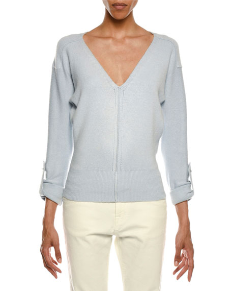 V-Neck Tab-Sleeve Knit Sweater