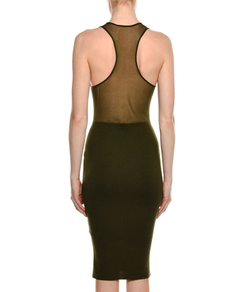 High-Neck Racerback Fitted Midi Dress
