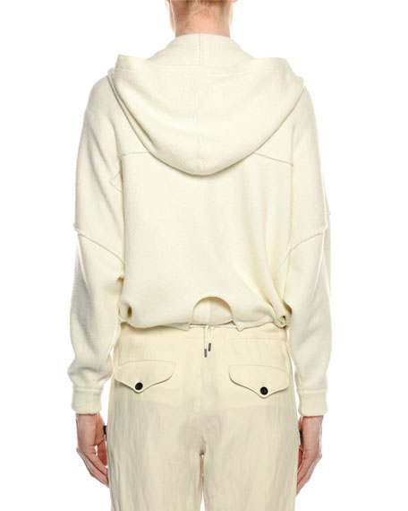 Compact Knit Zip-Front Hoodie Sweater