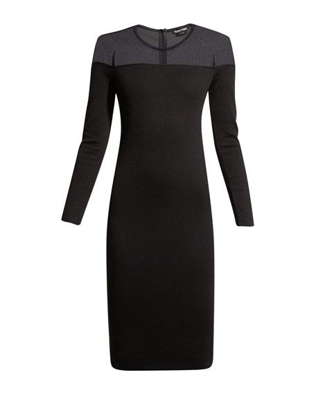 Round-Neck Illusion-Yoke Silk Knit Cocktail Dress