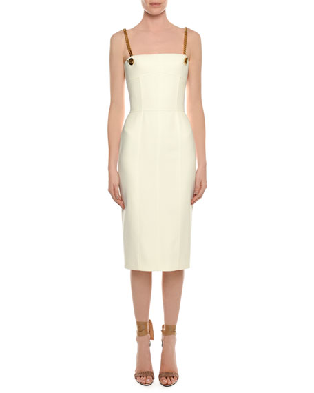 TOM FORD Bustier Top Chain-Straps Midi Crepe Dress