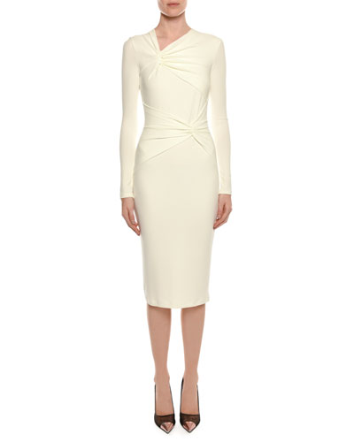 Long-Sleeve Shirred Neck & Waist Fitted Day Dress