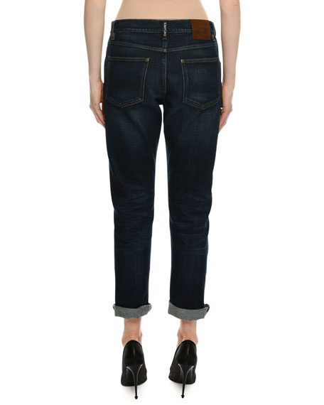 Straight-Leg Boyfriend Denim Jeans