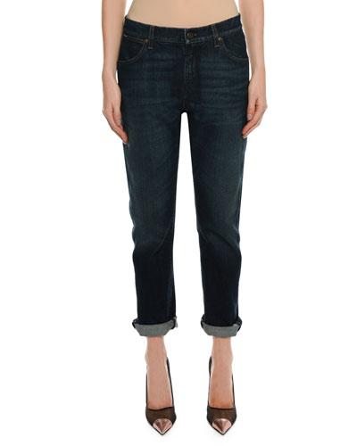 Straight-Leg Boyfriend Denim Jeans