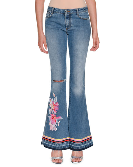 Ermanno Scervino Low-Rise Faded Denim Flared-Leg Jeans with