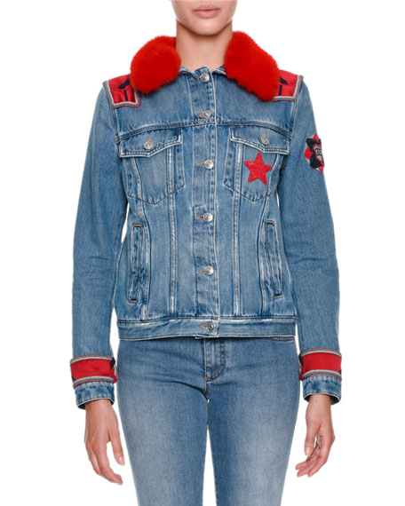 Button-Front Denim Jacket with Mink Fur and Military Patches