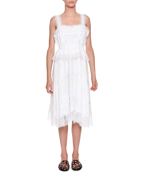 Ermanno Scervino Sleeveless Lace Poplin Midi Dress and