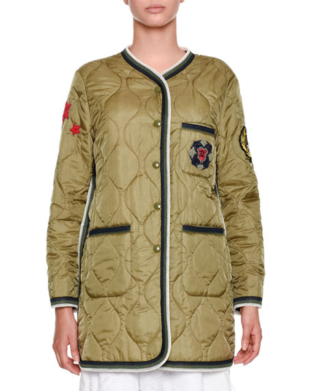 Snap-Front Quilted Puffer Jacket with Military Patches
