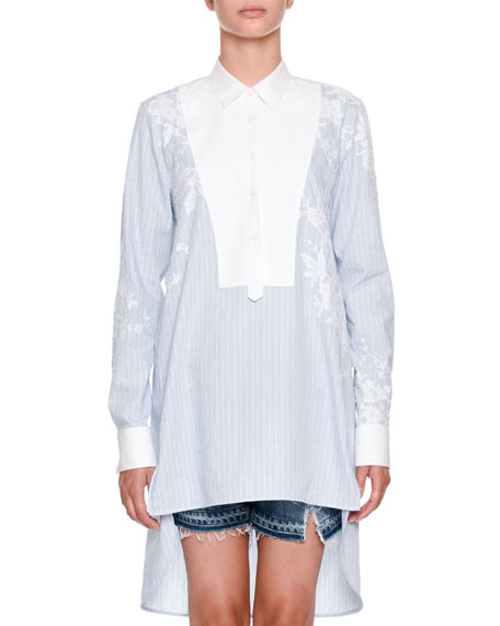 Ermanno Scervino Long-Sleeve Button-Front Striped Tunic Shirt