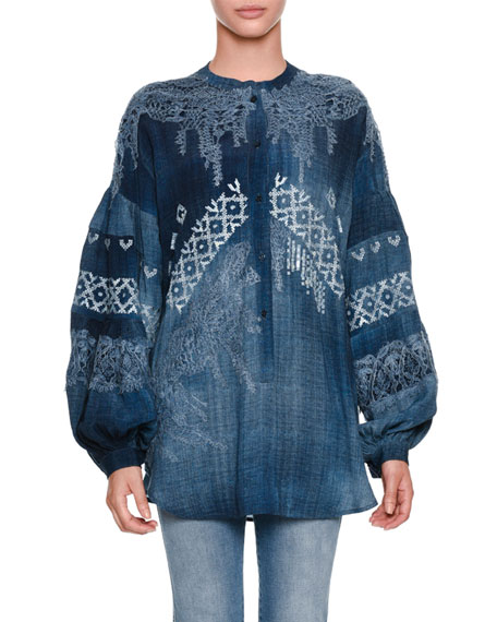 Ermanno Scervino Blouson-Sleeve Oversized Chambray Blouse with