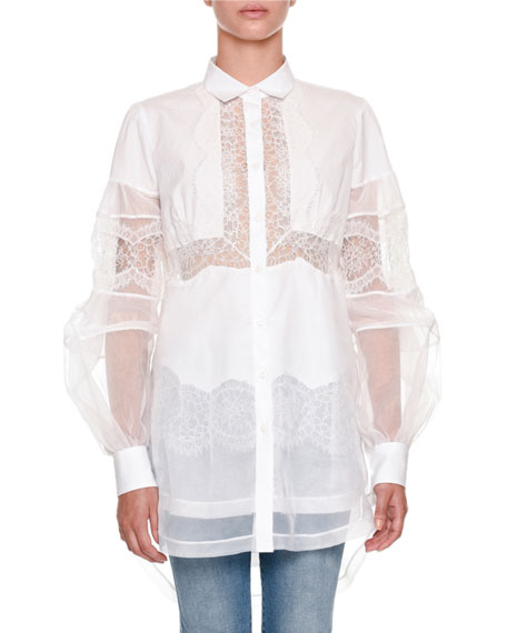 Long-Sleeve Button-Front Sheer Organza Blouse with Lace Trim