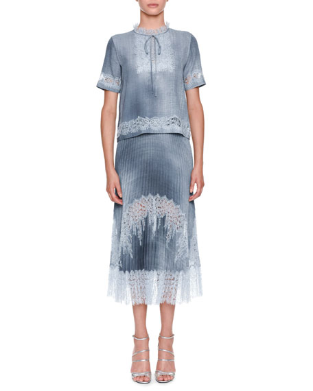 Ermanno Scervino Short-Sleeve Tie-Neck Denim Blouse with Lace