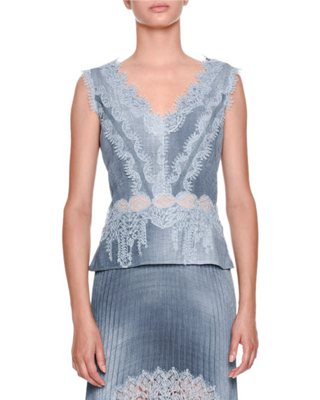 Sleeveless V-Neck Chambray Blouse with Lace Insets