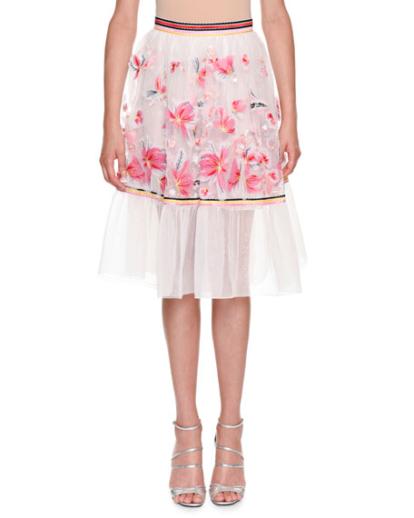 Ermanno Scervino Floral-Embroidered Organza Skirt