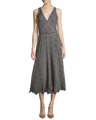 Louise Pleated Plaid Dress