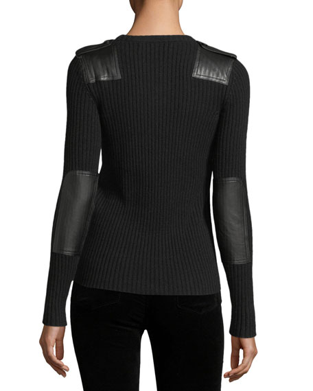 Ribbed Knit Leather-Trim Cashmere Sweater