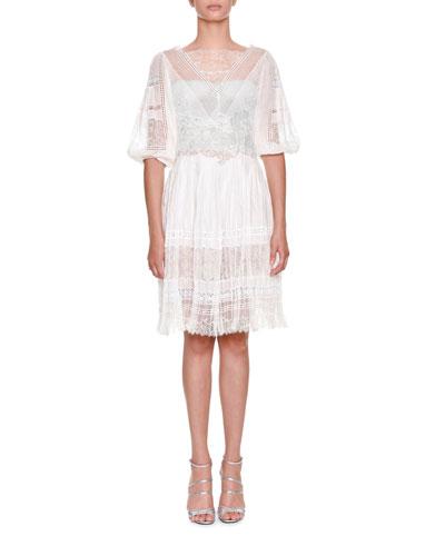 High-Neck Elbow-Sleeve Multi-Lace Plisse Short Dress