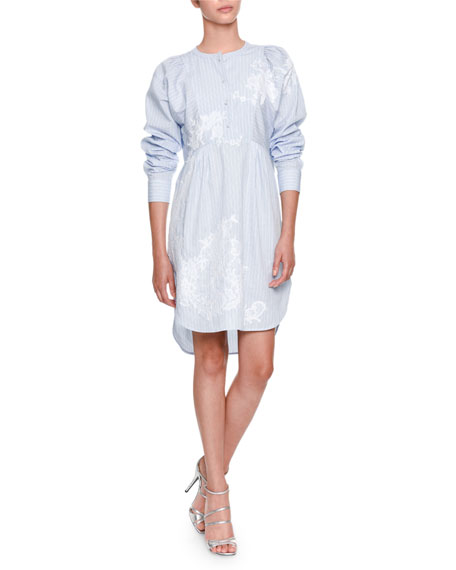 Button-Front Long-Sleeve Striped Poplin Dress with Lace Detail