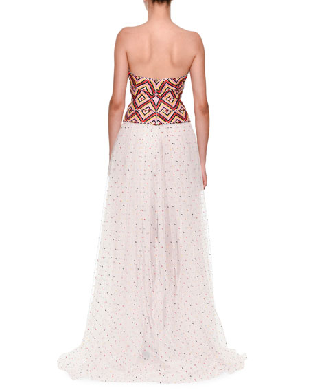 Strapless Woven Top With Tulle Dotted Skirt Evening Gown
