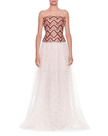 Ermanno Scervino Strapless Woven Top With Tulle Dotted