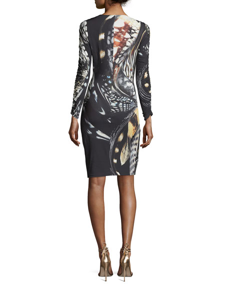 Long-Sleeve Plunging Abstract-Print Dress