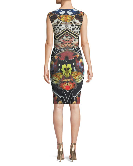 Sleeveless V-Neck Butterfly-Print Ruched Dress w/ Ring-Detail