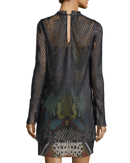 Long-Sleeve Leather Mesh Over Butterfly-Print Cocktail Dress