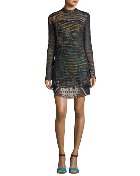 Roberto Cavalli Long-Sleeve Leather Mesh Over Butterfly-Print