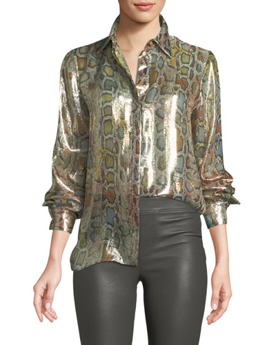 Long-Sleeve Metallic Python-Print Blouse