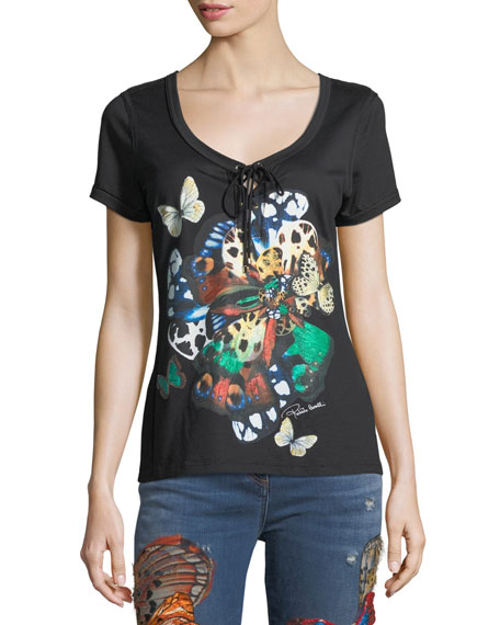 Roberto Cavalli Scoop-Neck Butterfly-Print Cotton T-Shirt