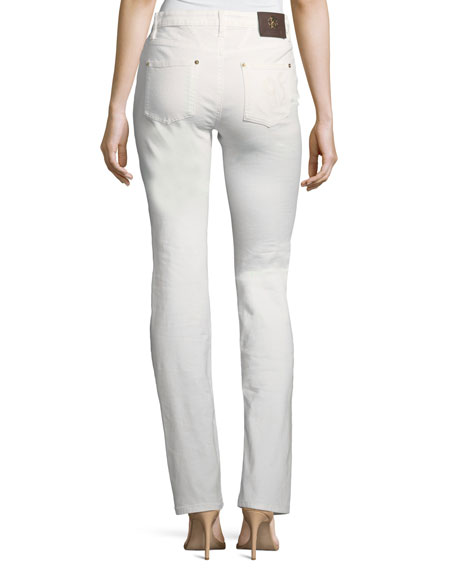 Mid-Rise Straight-Leg Stretch-Denim Jeans