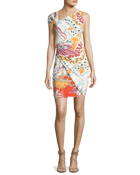 Asymmetric-Neck Printed Cocktail Dress