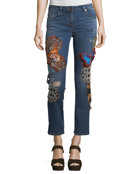 Roberto Cavalli Butterfly Applique Straight-Leg Ankle-Length Jeans