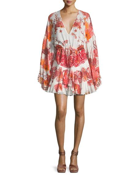 Roberto Cavalli V-Neck Tiered Cotton-Poplin Printed Dress