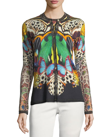 Wool-Cashmere Button-Front Butterfly-Print Knit Cardigan