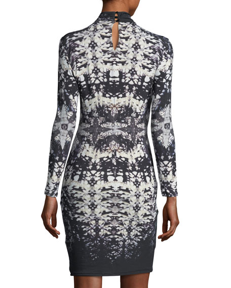 Long-Sleeve Keyhole Abstract-Print Fitted Dress