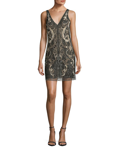 Sleeveless Deep-V Beaded Shift Cocktail Dress