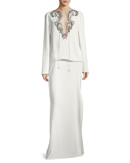 Roberto Cavalli Cape-Sleeve Tie-Neck Beaded Kaftan Evening Gown