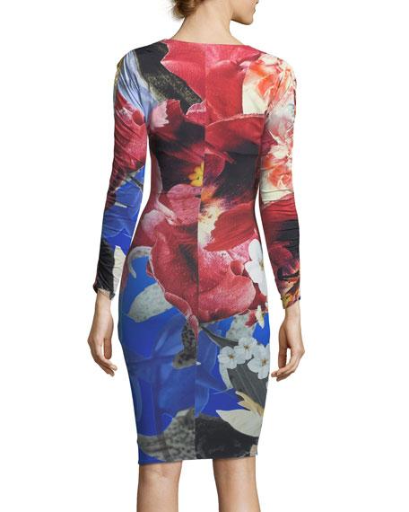 V-Neck Long-Sleeve Fitted Floral-Print Dress