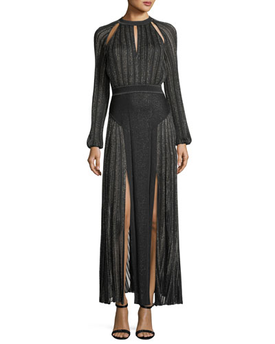 Long-Sleeve Keyhole Metallic Knit Evening Gown