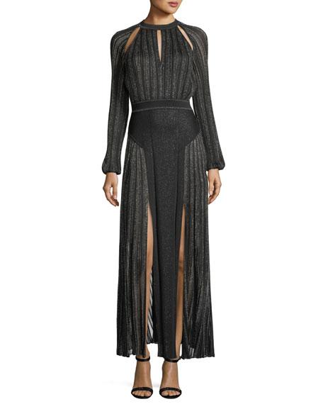 Roberto Cavalli Long-Sleeve Keyhole Metallic Knit Evening Gown