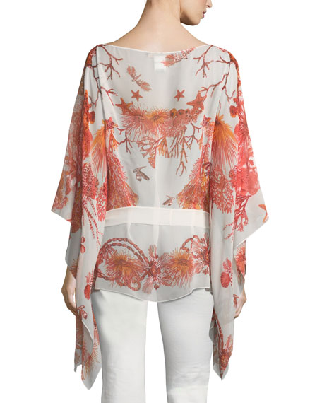 Bateau-Neck Tie-Waist Printed Caftan Silk Blouse