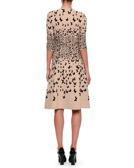 Graduated Butterfly Jacquard Knit Dress