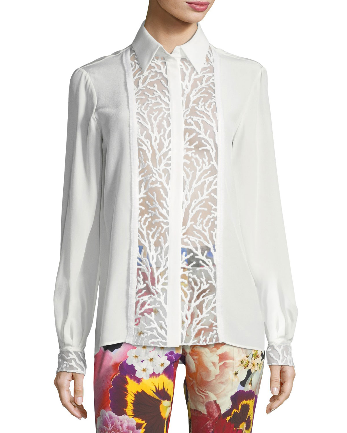 0dab599d9 Roberto Cavalli Long-Sleeve Button-Front Lace Inset Silk Blouse ...