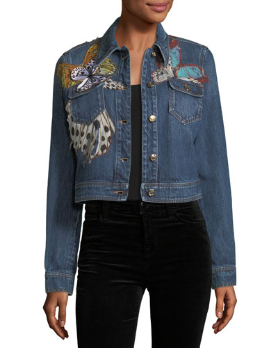 Butterfly Applique Cropped Denim Jacket