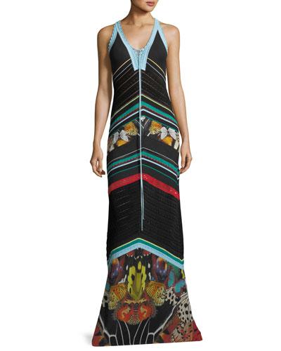 Sleeveless Knit Butterfly-Print Maxi Dress